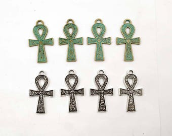 4 Patina Plated Or Antique Silver Ankh Pendant/Charms - 21-8-1