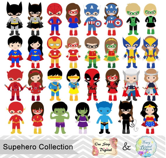 Superhero Art For Little Boys: 62 Little Girl Superheros Digital Clip Art Little Boy