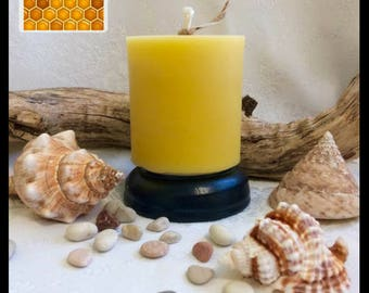 Beeswax Pillar Candle - Short - pure beeswax, honey scented