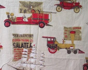 Pair 60's curtains Novelty print Transportation Fire engine/train/Clipper Ship San Francisco / automobile