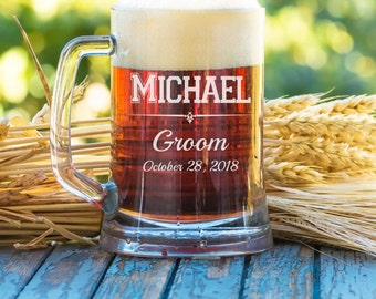 16 ounce Beer Mug-Groomsman Gift, Laser Engraved Mug, Wedding Gift, Personalized Beer Mug, Wedding Party Favor, Free Engraving