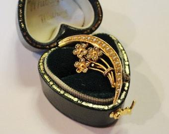 Antique Victorian 14K Gold Seed Pearl Honeymoon Brooch Pin