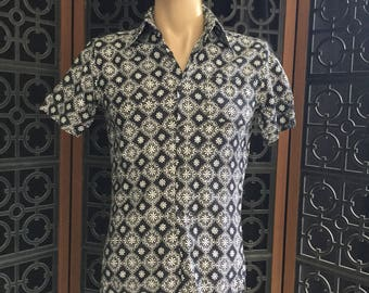 Slim 1970s Cotton Print Shirt, size Mens M
