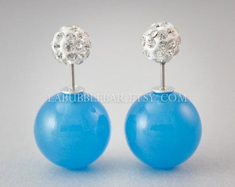 SALE Tribal Earrings - Double Pearl Earrings, Double Sided Earrings, Jelly Blue