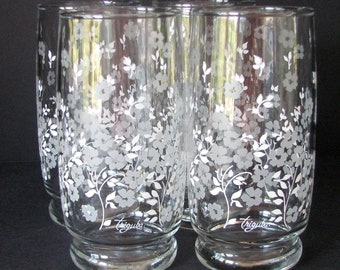 1960s Triguba Tumblers Anchor Hocking Marvin Triguba drinking Floral Glasses