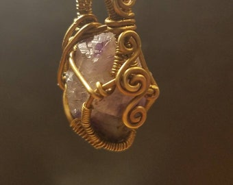 Chevron Amethyst and Brass