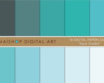 Solid Color Digital Paper 'Aqua Shades' Plain Blue, Turquoise, Celeste... Printable Sheets for Paper Crafts, DIY Crafts, Decoupage...