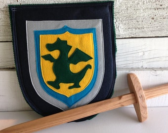 Dragon Knight Shield NAVY and GREEN - Halloween Costume - Kid Costume