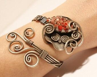Red jasper cuff bracelet, silver jasper bracelet, wire wrapped jewelry handmade bracelet, gemstone cuff bracelet, wire jewelry, gift for her