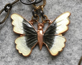 Vintage Enamel Butterfly necklace