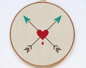 Modern Cross Stitch Pattern, Heart and Arrows Easy Cross Stitch Chart,  Valentine Heart, Small, Easy, PDF Format, Instant Download