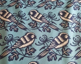 Birds on Blue, Seedling by Thomas Paul, 100% Quilt Shop Quality Cotton, Sold By the Yard, Michael Miller Fabrics