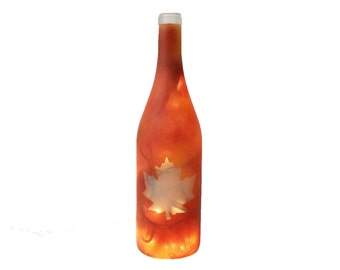Fall Lighted Wine Bottle - Wine Gift, Wine Decor, Hostess, Fall Decor, Wine Bottle Lamp, Gift for Her, Thanksgiving, Housewarming, Autumn