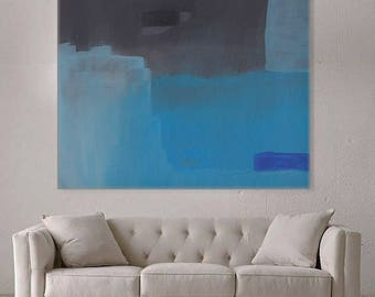 Black and Blue Minimal Wall Art, Large Painting on Canvas, Original Large Art, Abstract Home Decor, Blue Painting on Canvas, Free Shipping