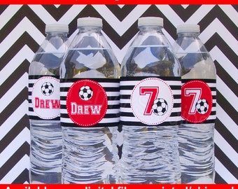 Soccer Water Bottle Labels - Soccer Water Bottle Wraps - Sports Bottle Labels- Soccer Party Decor - Emailed & Shipped