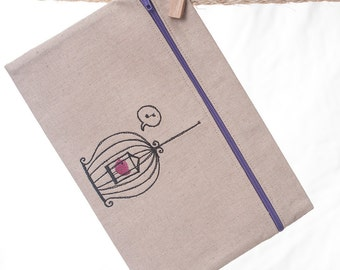 Bird Cage Zipper Pouch Made to Order