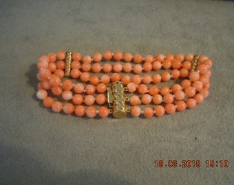 3 Strand Coral Bracelet with 14K gold-16.41 grams -knotted - 5mm beads