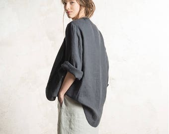 Charcoal linen jacket, Dark grey jacket for women, Custom color Linen womens clothing, Linen cardigan, Long linen coat, Long sleeves top