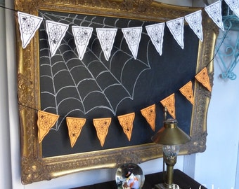 PDF Instant Download Spider Web Garland Banner Bunting Pattern Print Cut and Glue Halloween Decor Party Decor Pendants