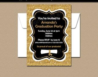 Graduation Party Invitation, Grad Invitation, Printable Invitation, Black and Gold Glitter Invitation, College Graduation Invitation G11