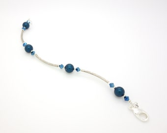 Silver Bracelet. Blue Bracelet. Silver and Blue Bracelet. Swarovski Crystals Bracelet. Glass Pearls Bracelet.