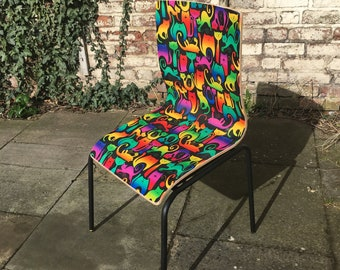 70s Retro Psychedelic Cats Plywood Chair