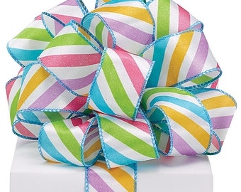 "New Easter Stripe Ribbon 1-1/2"" Wire Edge, Easter Ribbon 4 yards"