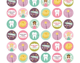 Tooth fairy bottle cap images, bottlecap images, one inch circles, royalty-free, digital collage sheet- Instant Download
