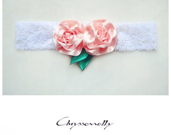 CCC009 - Baby girl white lace headband with handmade pastel pink satin roses, crystals and emerald green leaves