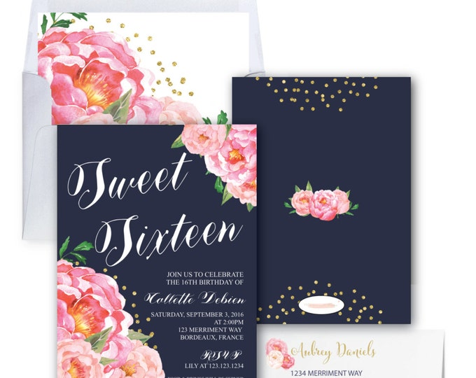 Sweet Sixteen Invitation // Birthday Invitation // Sweet 16 // Navy Blue // Flowers // Peony // Pink // Gold Glitter // BORDEAUX COLLECTION