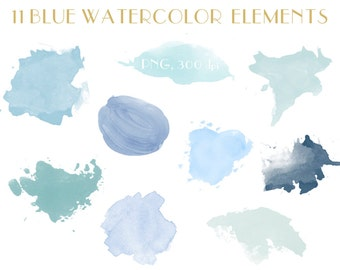 11 blue watercolor elements, watercolor clip art