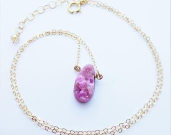 Cobalto PInk Drusy Gemstone Gold Filled Minimalist Necklace EE Designs