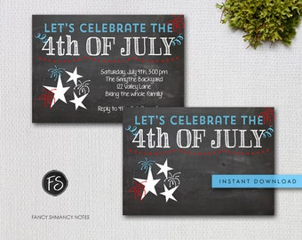 4th of July Party Invitation / Red White Blue Chalk Invitation/ Instant Download  / INVITATION TEMPLATE / #7433