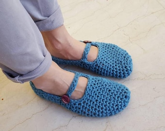 Crochet ballerinas slippers. Handmade crochet cotton or woolen slippers with buttons or not in many colors and color combinations.