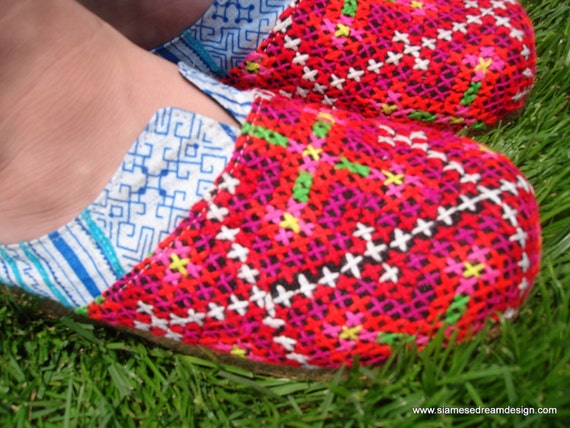 Hmong 7 Colorful in Bright Size Clogs Textiles Slides Women's Embroidered US BfqHwYI