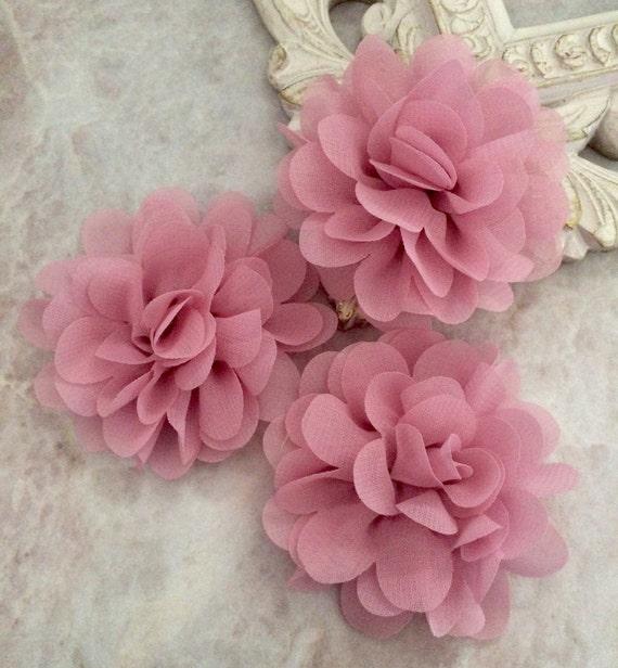 Petite dusty pink chiffon flower chiffon flower flower puff petite dusty pink chiffon flower chiffon flower flower puff material flower headband flower diy supplies fabric flower from blingbasement on etsy mightylinksfo Images