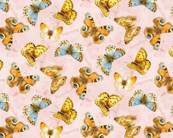 """Butterflies on Pink Fabric, """"Flights of Fancy"""" by Jane Maday for Wilmington, 100% Cotton, Great for Quilting, Crafting!"""