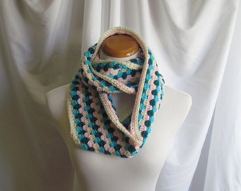 Infinity Scarf Cowl Crochet - Pink, Aqua, Teal and Off White