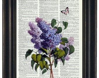 FLOWER Print Lilac Print Purple Butterfly Art Print Upcycled Dictionary Art Vintage Dictionary Book Page 8 x 10