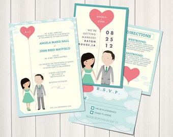 Package: Save-the-date and Wedding Invitation Suite - Love's Afloat design