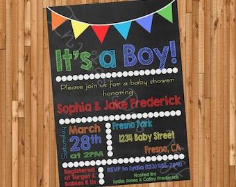 Chalkboard Style Baby Shower (Boy) Invitation Printable