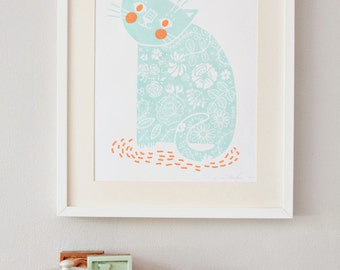 Happy Kitty screenprint mint/orange