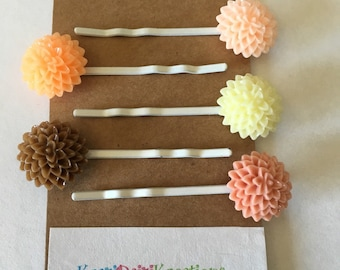 Flowered Hair Pins - Brown and Peach - set of 5