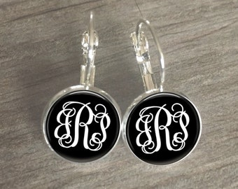Monogram Earrings, Black and White Earrings, Vine Monogram, Sorority Gift, Wedding, Personalized Earrings, Initial Earrings, Monogrammed