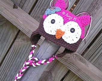 Pink and Brown Baby Girl Owl hat, Newborn to 6 mnth, Crochet baby hats, Baby Girl Owl hats