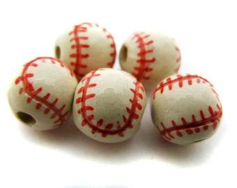 20 Ceramic Beads - Large Red Baseball - (13mm) - ceramic, ball, peruvian, sports