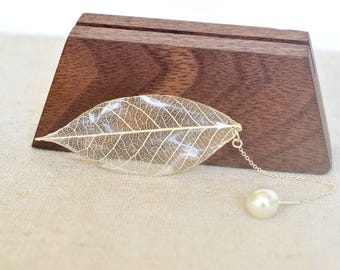 real leaf earring,pearl earrings,threader earrings,girlfriend earrings