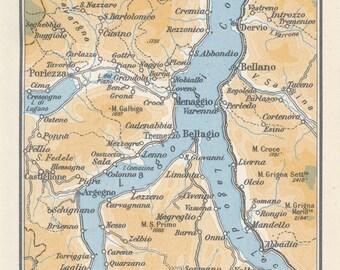 1953 Lake Como Italy Vintage Map