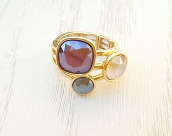 Swarovski 3 crystal stainless steel ring