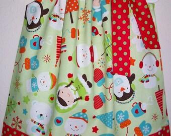 18m Pillowcase Dress Girls Dress Winter Dress with Penguin Riley Blake Polar Bear Dress Winter Birthday Winter Party Toddler Dress